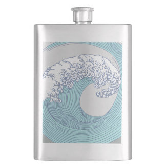 Japanese Wave Art Print Blue Ocean Beach Hip Flask