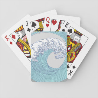 Japanese Wave Art Print Blue Ocean Beach Poker Deck