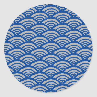 Japanese Wave Pattern Classic Round Sticker