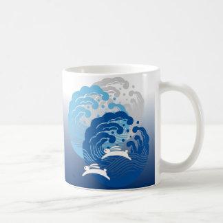 Japanese Wave & White Rabbit Basic White Mug