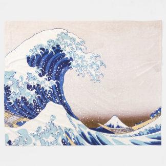 Japanese Waves Fleece Blanket