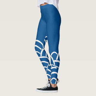 Japanese Waves Lapis Blue Leggings
