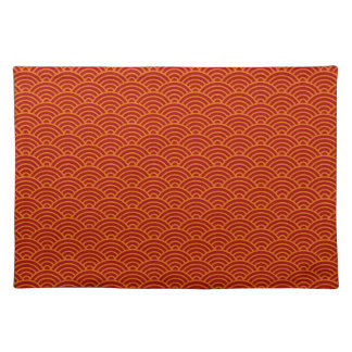 Japanese waves red,orange,yellow placemat