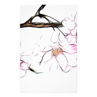 Japanese Weeping Cherry Blossom Fractal Art Customized Stationery