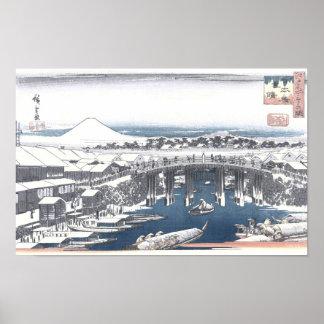 Japanese Winter Painting of Nihon bridge, Tokyo Poster