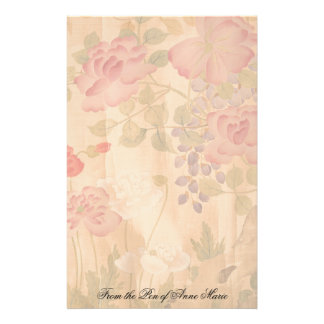 Japanese Wisteria Roses Flowers Floral Stationery