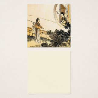 Japanese woman at a window vintage print square business card
