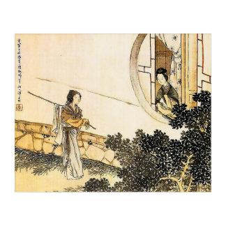 Japanese woman at moon window acrylic wall art