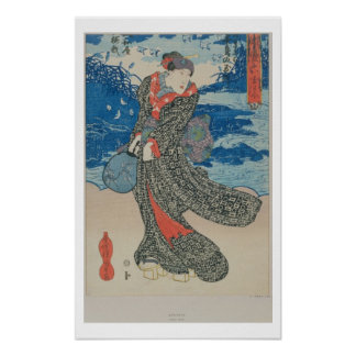 Japanese woman by the sea (colour woodblock print) poster