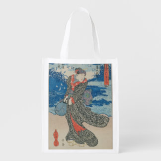 Japanese woman by the sea (colour woodblock print) reusable grocery bags