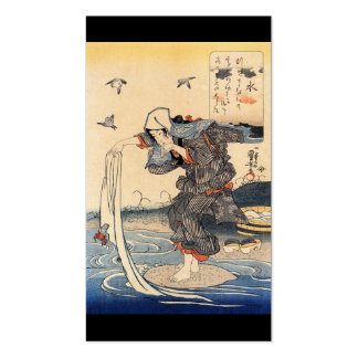 Japanese Woman doing laundry in river c. 1800's Pack Of Standard Business Cards