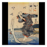 Japanese Woman doing laundry in river c. 1800's Posters