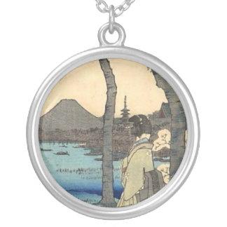 Japanese Woman gazing at Mt. Fuji Round Pendant Necklace
