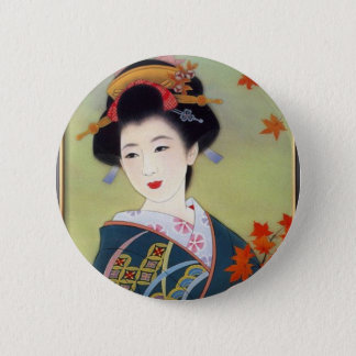 Japanese woman in blue kimono 6 cm round badge