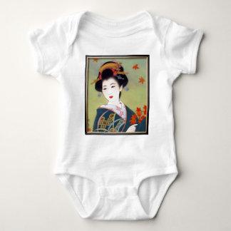 Japanese woman in blue kimono baby bodysuit