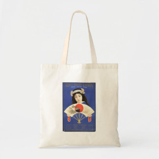 Japanese woman in blue kimono holding a fan budget tote bag