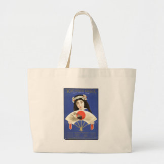 Japanese woman in blue kimono holding a fan jumbo tote bag