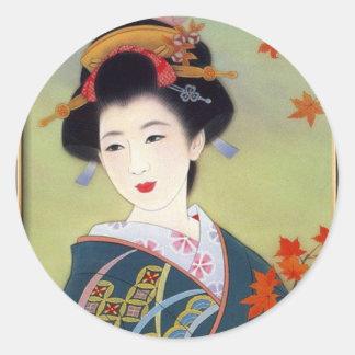 Japanese woman in blue kimono round sticker