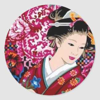 Japanese Woman in Kimono Classic Round Sticker