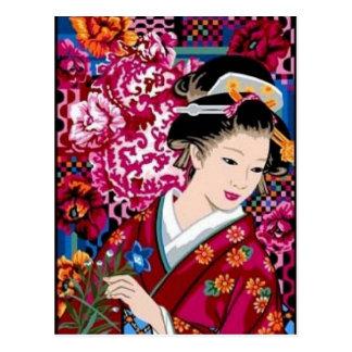Japanese Woman in Kimono Postcard