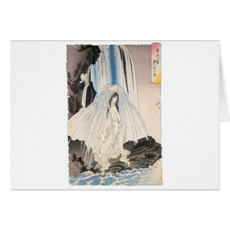 Japanese Woman in Waterfall, Ancient Japanese Art Card