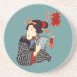 Japanese Woman Reading 2 Beverage Coaster