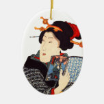 Japanese Woman Reading 2 Christmas Tree Ornaments