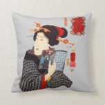 Japanese Woman Reading 2 Throw Pillows