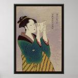 Japanese Woman Reading Letter Print