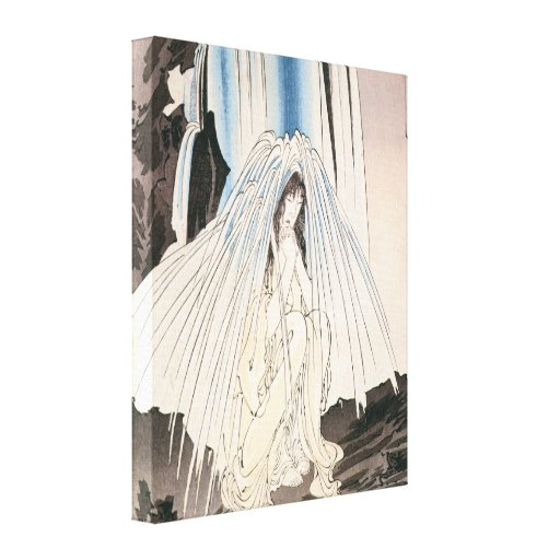 Japanese Woman under Waterfall Canvas Prints