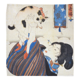 Japanese Woman with Cat, Utagawa Kuniyoshi Bandana