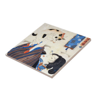 Japanese Woman with Cat, Utagawa Kuniyoshi Small Square Tile