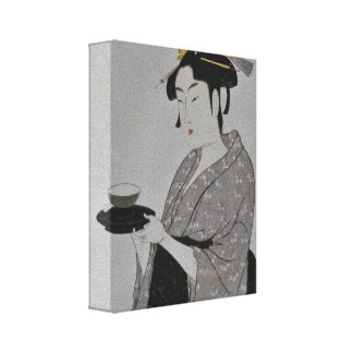Japanese Woman with Tea Gallery Wrap Canvas