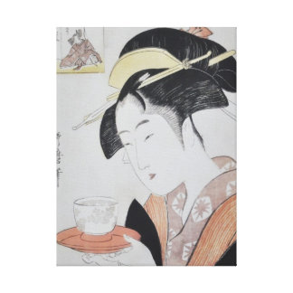 Japanese Woman with Tea Gallery Wrapped Canvas