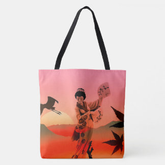 Japanese Woman with Two Fans Tote Bag