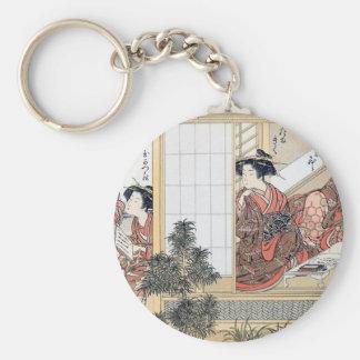 Japanese Women Basic Round Button Key Ring