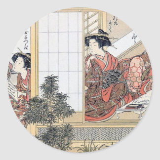 Japanese Women Classic Round Sticker