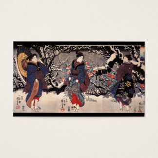 Japanese Women in the Snow  c. 1800s Business Card