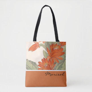 Japanese Wood Block Print Christmas Cactus Bag