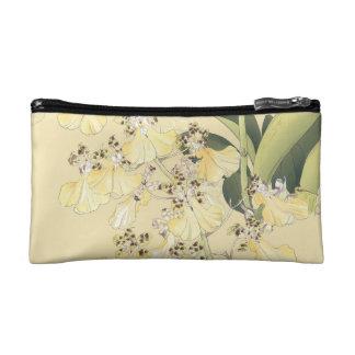 Japanese Wood Block Print Leopard Orchids Makeup Bag