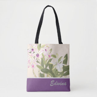 Japanese Wood Block Print Orchid Tote Bag