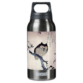 Japanese Woodblock Art Owl Print Insulated Water Bottle