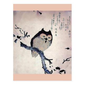 Japanese Woodblock Art Owl Print Postcard