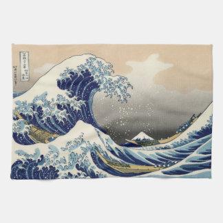 Japanese Woodblock: Big Wave off Kanagawa Tea Towel