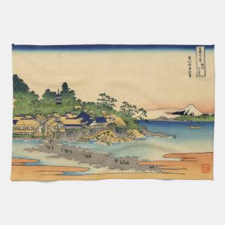 Japanese Woodblock: Enoshima in Sagami Province Tea Towel
