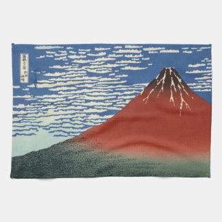 Japanese Woodblock: Red Fuji Southern Wind Tea Towel