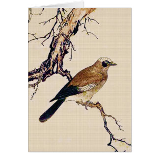 Japanese Woodcut of a Finch, Brown and Beige Card