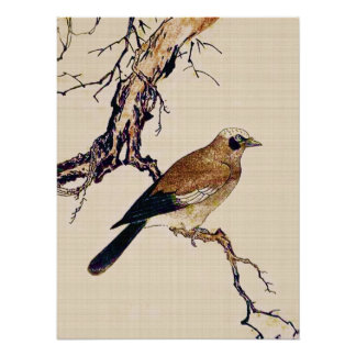 Japanese Woodcut of a Finch, Brown and Beige Poster