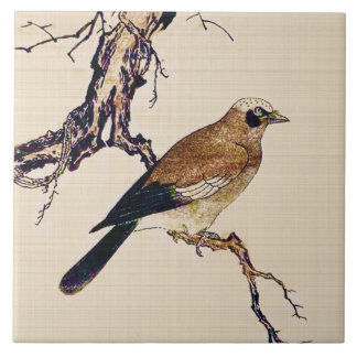 Japanese Woodcut of a Finch, Brown and Beige Tile