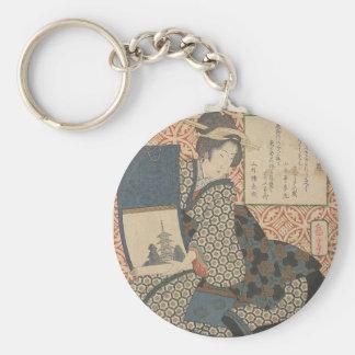 Japanese Woodprint Key Ring